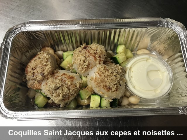 La Bisquine Coquilles Saint Jacques aux cèpes et noisettes, ...
