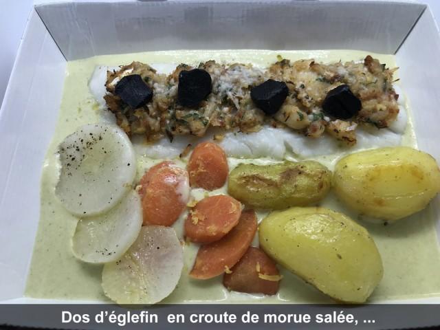 La Bisquine Dos d'églefin  en croute de morue salée, ...