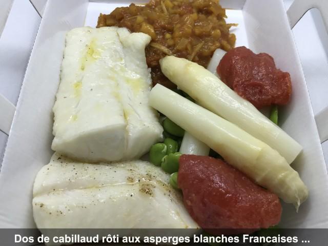 La Bisquine Dos de cabillaud rôti aux asperges blanches Françaises, ...