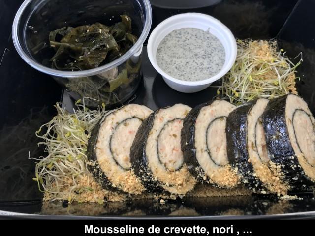 La Bisquine Mousseline de crevette, nori ,gomasio, jeunes pousses, ...