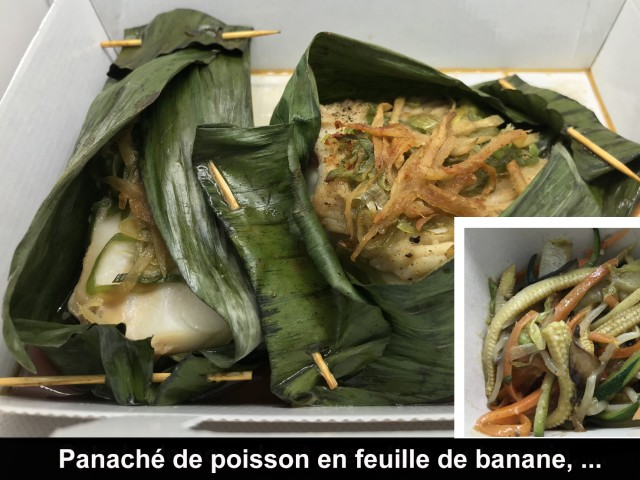 La Bisquine Panaché de poisson en feuille de banane, ...