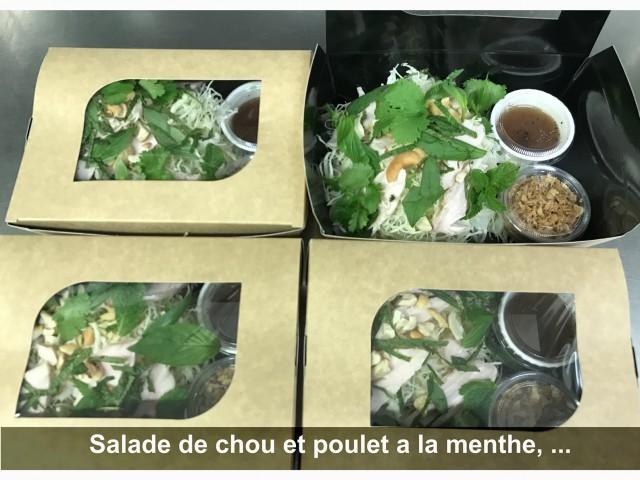 La Bisquine Salade de chou et poulet à la menthe, ...