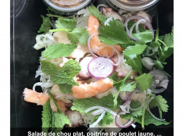 La Bisquine Salade de chou plat, poitrine de poulet jaune, poulpe et ...