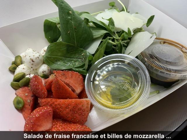 La Bisquine Salade de fraise française et billes de mozzarella ...