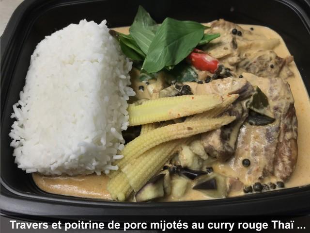 La Bisquine Travers et poitrine de porc mijotes au curry rouge Thaï