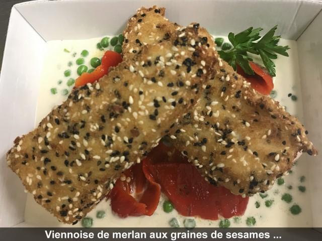 La Bisquine Viennoise de merlan aux graines de sésame, crème de rhubarbe et lard fumé, ...
