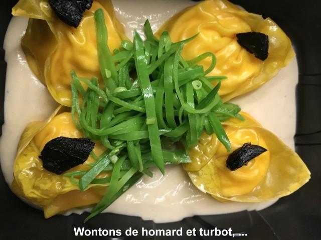 La Bisquine Wontons de homard et turbot,